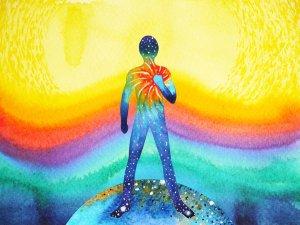 human and universe power, watercolor painting, chakra reiki abstract art