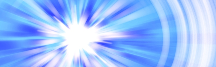 colored radial background, blue and white star